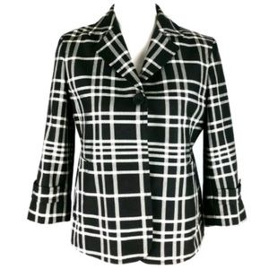 Talbots Black Plaid Single button Jacket Coat 18